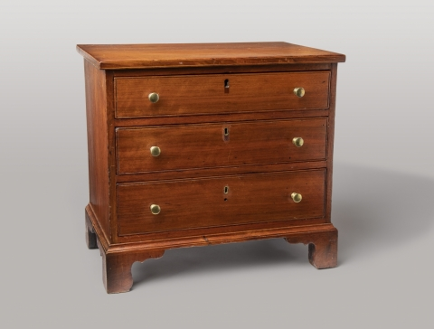 three chest of drawers with two handles and a lock in the middle for each