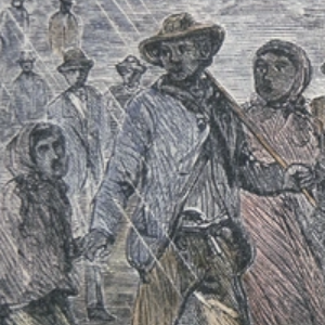 """FUGITIVE SLAVES FLEEING FROM THE MARYLAND COAST TO AN UNDERGROUND RAILROAD DEPOT IN DELAWARE,"""" 1850, PETER NEWARK/AMERICAN PICTURES/BRIDGEMAN IMAGES"""