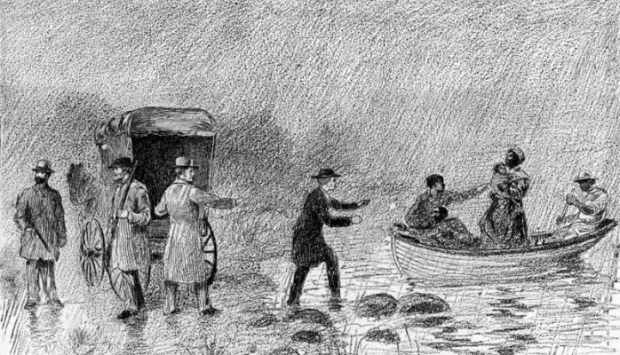 """This illustration from the 1888 book """"The Story of Ohio,"""" by Alexander Black shows a stop on the Underground Railroad. L.J. BRIDGMAN / OHIO HISTORY CONNECTION"""