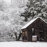 snow fall around wooden shed in Odessa