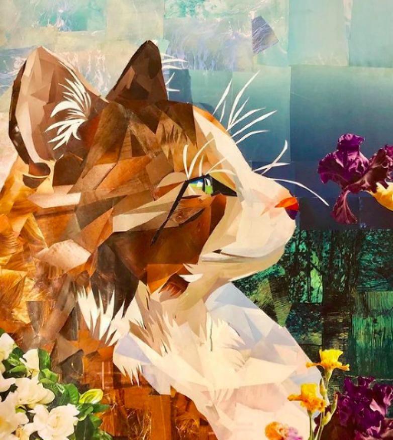cat sniffs violet art